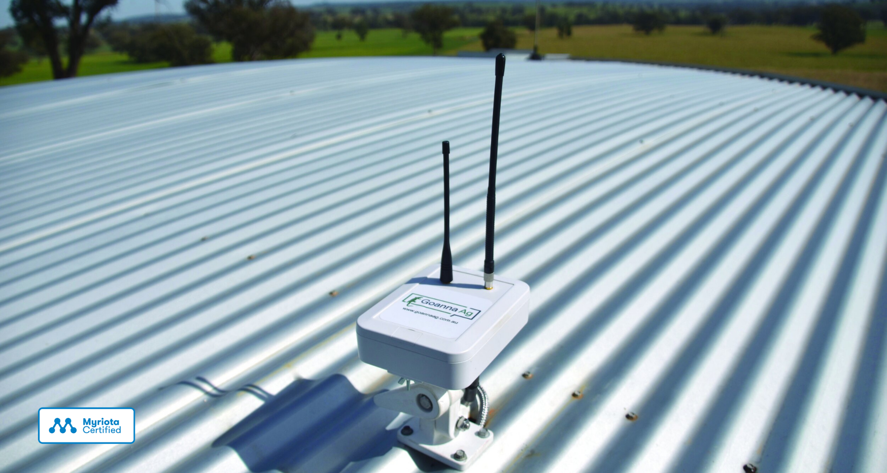 Picture of Goanna Ag's Myriota Certified GoTankSat device for water tank monitoring
